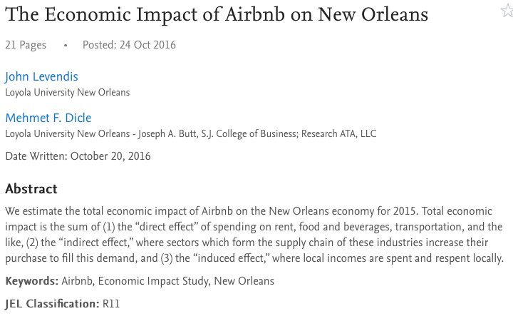 The Economic Impact of Airbnb on New Orleans