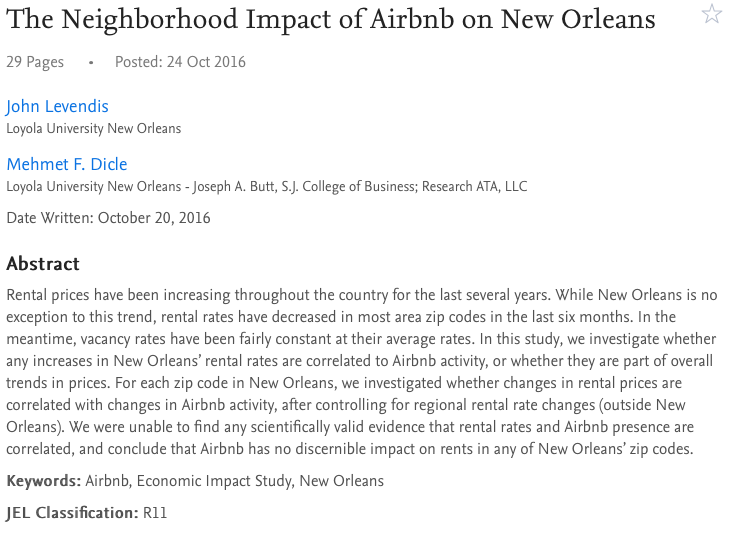 The Neighborhood Impact of Airbnb on New Orleans
