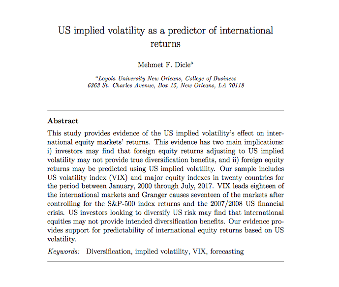 US implied volatility as a predictor of international returns
