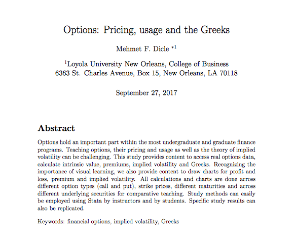 Options: Pricing, usage and the Greeks